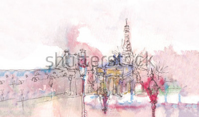 Fototapet Landmärke i Paris med akvarell på en regnig dag - gammal museumvisning med Eiffeltornet bakom. Akvarell chic. Parisisk panorama. Parisisk akvarell panorama. Elegant landskap