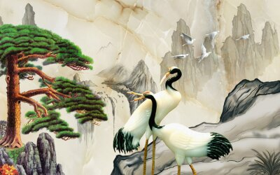 Fototapet Landscape illustration, marble, mountains, a pair of cranes, green pine on a rock
