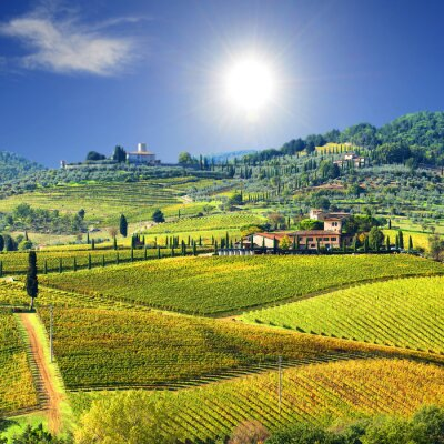 Fototapet Landskap i Chianti, Toscana, Italien