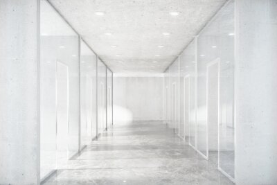 Fototapet Lång korridor med betonggolv och genomskinliga väggar i moder