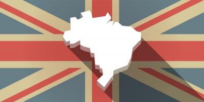 Fototapet Lång skugga UK sjunker ikon med en karta över Brasilien