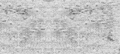 Fototapet Lång vit tegelvägg