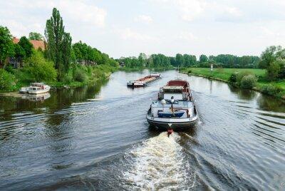 Fototapet Lastfartyg på Weser i Nienburg