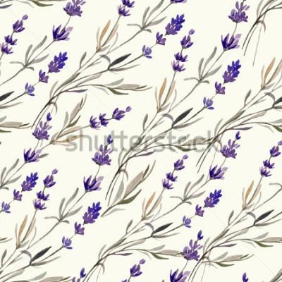 Fototapet lavendel, mönster, akvarell