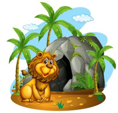 Fototapet Lejon sitter framför grotta