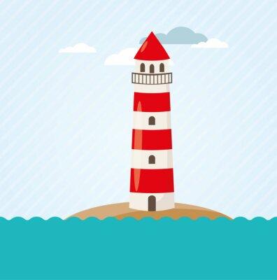 Fototapet Leuchtturm en Küste Vektor