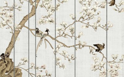 Fototapet Light textured background, white magnolia flowers on a tree and birds