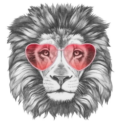 Fototapet Lion in Love! Stående av Lion med hjärtformade solglasögon. Handritad illustration.