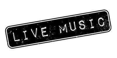 Fototapet Live Music gummistämpel. Grunge design med damm repor. Effekterna kan enkelt avlägsnas för ett rent, skarpt utseende. Färgen ändras enkelt.