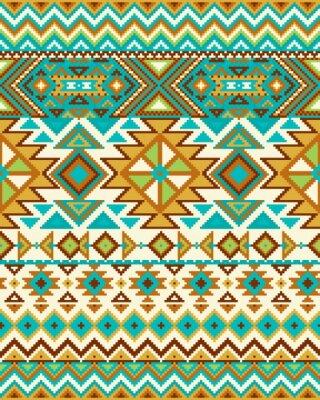 Fototapet Ljus sömlös bakgrund med pixelmönster i Aztec geometrisk stam- stil. Vektor illustration. Pantone-färger.