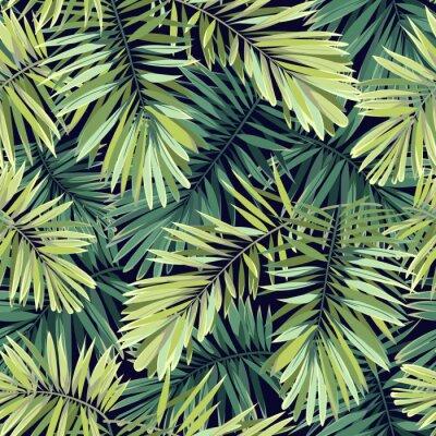 Fototapet Ljust grön bakgrund med tropiska växter. Seamless vektor exotiska mönster med phoenix palmblad.