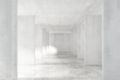 Fototapet Loft stil tunnel med många väggar i ljus tom byggnad