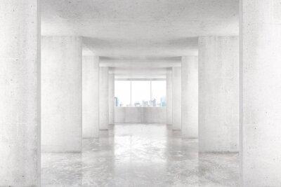 Fototapet Loft stil tunnel med många väggar i ljus tom byggnad med b