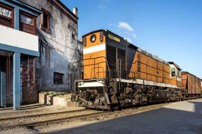 Fototapet Lok vid stationen i Camagüey Cuba