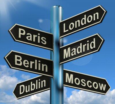 Fototapet London Paris Madrid Berlin Sign Visar Europa Rese Touris
