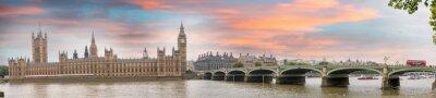 Fototapet London vid skymning. Höst solnedgång över Westminster Bridge