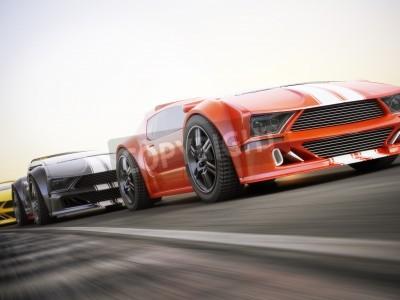 Fototapet Loppet, Exotiska sportbilar racing med rörelseoskärpa. Generic anpassade foto realistisk 3D-rendering.