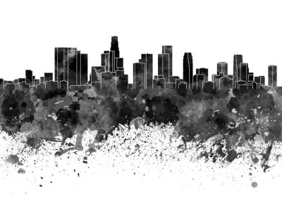Fototapet Los Angeles horisont i svart vattenfärg på vit bakgrund
