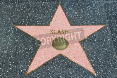 Fototapet LOS ANGELES, USA - 5 april 2014: Slash (Guns N 'Roses gitarrist) stjärna på berömda Walk of Fame i Hollywood. Hollywood Walk of Fame har mer än 2500 stjärnor med inskriven kändis namn.