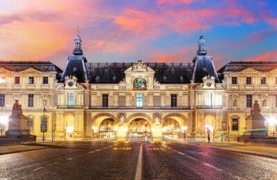 Fototapet Louvren i Paris på soluppgången, Frankrike