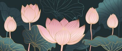 Fototapet Luxurious background design with golden lotus. Lotus flowers line arts design for wallpaper, natural wall arts, banner, prints, invitation and packaging design. vector illustration.