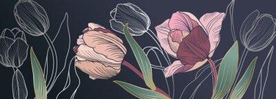 Fototapet Luxury pink tulips background vector with golden metallic decorate wall art