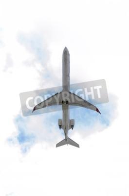 Fototapet Madrid, Spanien - 14 JUNI 2015: Flygplan -Bombardier Canadair CRJ-900, av -Air Nostrum- flygbolag tar fart från Madrid-Barajas -Adolfo Suarez- flygplats, den 14 juni 2015.