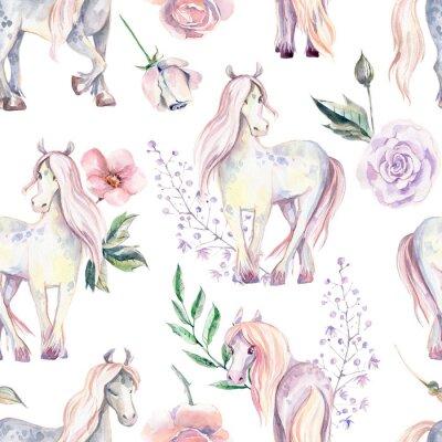 Fototapet Magic Pony seamless mönster. Akvarellillustration, vacker