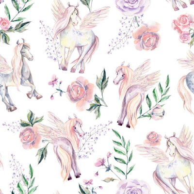 Fototapet Magiska Pegasuses i sömlösa mönster. Akvarellillustration, vara