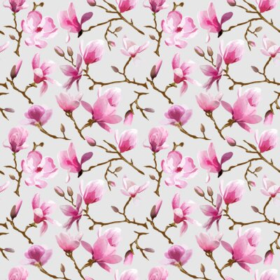 Fototapet Magnoliablommor Bakgrund - tappning Seamless