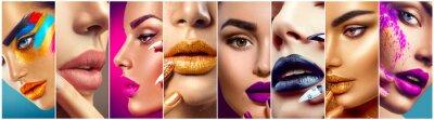 Fototapet Makeup collage. Skönhet makeup artist idéer. Färgglada läppar, ögon, ögonskuggor och nail art