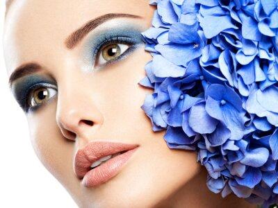 Fototapet Makeup Face Flower Blue Woman Fashion