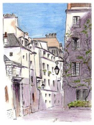 Fototapet Målning av gata i europeisk stad Paris