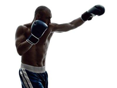 Fototapet man boxare boxning isolerat siluett