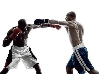Fototapet män boxare boxning isolerat siluett