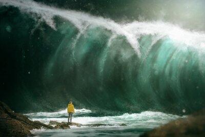 Fototapet Man framför en tsunami