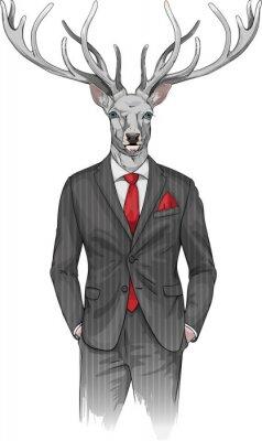 Fototapet man med hjorthuvud klädd i en kostym