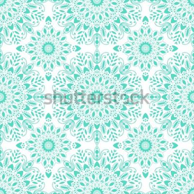 Fototapet Mandala sömlösa mönster. Bohemisk stil. Tappningbakgrund med den runda prydnaden, dekorativ indisk medaljong, abstrakt blommaelement. Vektor design