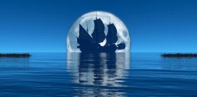 Fototapet månen och segelfartyg