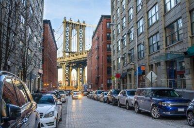 Fototapet Manhattan Bridge från Brooklyn på en vinter eftermiddag