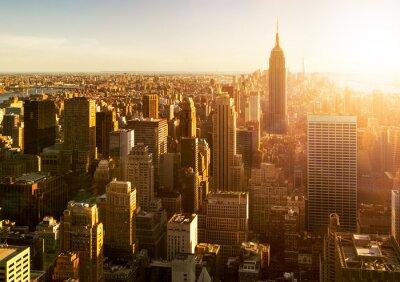 Fototapet Manhattan horisont bei Sonnen i New York