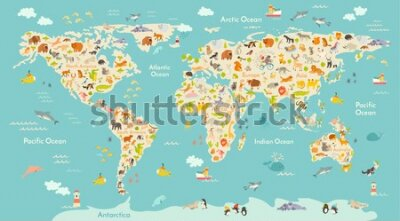 Fototapet Map animal for kid. Continent of world, animated child's map. Vector illustration animals poster, drawn Earth. Continents and sea life. South America, Eurasia, North America, Africa and Australia