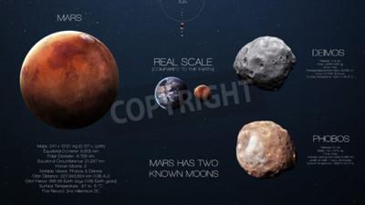Fototapet Mars - Högupplösta infographics om solsystemet planeten och dess månar. Alla planeter finns.