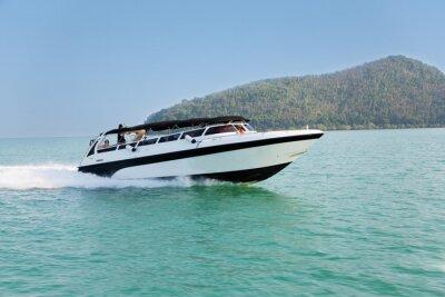 Fototapet Marschfart båt i Andamansjön, Thailand