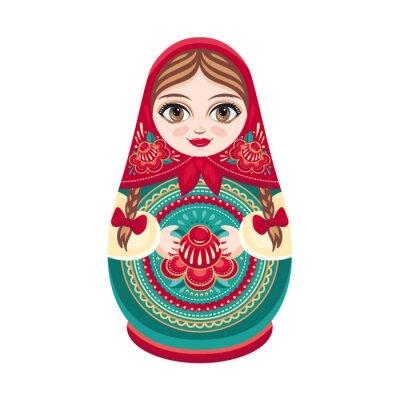Fototapet Matryoshka. Ryska folk trädocka. Babushkadocka. Vektor illustration på vit bakgrund