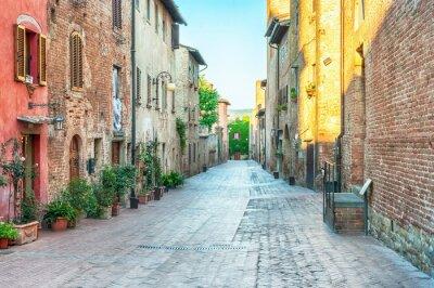 Fototapet Medeltida gatuvy i Certaldo, Italien.