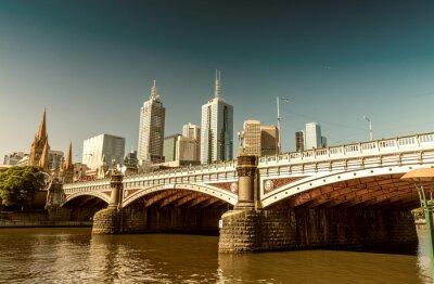 Fototapet Melbourne, Victoria - Australien. Vackra stadens silhuett