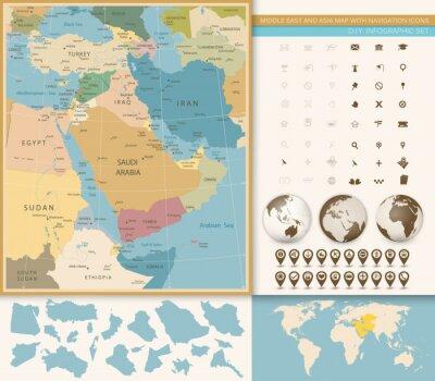 Fototapet Mellanöstern och västra Asien kartvintagefärger