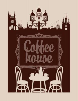 Fototapet meny för kaffehus med bildram och gamla stan