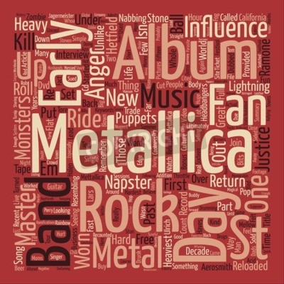 Fototapet Metallica St Anger text bakgrund ord moln koncept